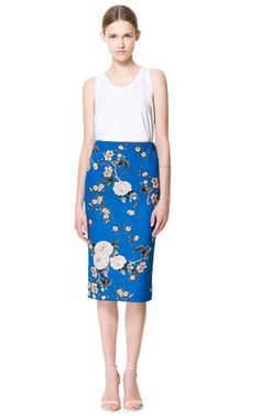 {zara floral blue printed pencil skirt}
