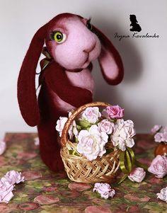 Купить Флорист Фрол - тёмно-фиолетовый, валяная игрушка, зайка, заяц, игрушка ручной работы