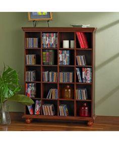 Cherry Finished 4-column Media Storage Shelf