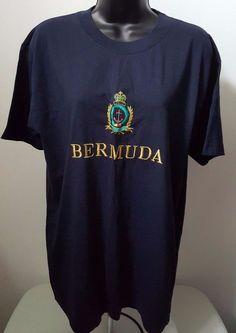 "Capital Bermuda Unisex Blue/Gold/Red/Green ""Bermuda"" T-Shirt Size L #CapitalBermuda #Embroidered"
