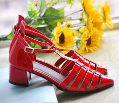 High Quality Women Strap Shoe Chunky Heel Belt Metal Buckle Ankle Sandal on Luulla
