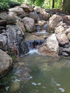 Waterfall created by Signature Pond and Patio in Wernersville, PA. #WaterfallWednesday