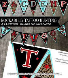 A-Z Rockabilly Bunting Banner - Rockabilly Style with retro elements DIY Printable for parties, events etc on Etsy, $20.00