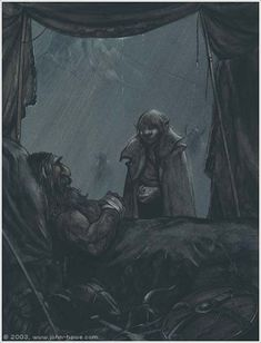 The Death of Thorin  ~John Howe    (Can we just stop a second to appreciate John Howe?)
