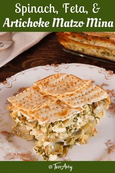 Spinach, Feta & Artichoke Matzo Mina - Greek-Style Sephardic Matzo Casserole with Sautéed Artichokes and Savory Spinach and Feta Filling. A delicious lunch or dinner for Passover or Sukkot. #Passover #kosherforpassoveer #Pesach #passoverseder #vegetarianpassover #vegetarian Recipes Using Ground Beef, Recipes Using Rotisserie Chicken, Can Chicken Recipes, Passover Recipes, Jewish Recipes, Mince Recipes, Greek Recipes, Mediterranean Diet Meal Plan, Mediterranean Dishes
