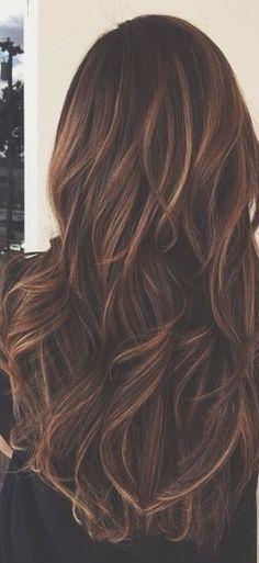 Long brunette caramel highlights