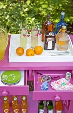 Outdoor Bar Cart from Society Social/ great inspiration for a Flamingo themed party...coming up in June