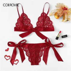 SHEIN Red Lace Sexy lingerie Set Hot Women Sleepwear V Neck Sleeveless Lace Scallop Bralette And Pantie Intimate Lingerie Macchar Cosplay Catalogue-MACchar Cosplay Catalogue Sexy Lingerie, Lingerie Petite, Ensemble Lingerie, Lace Lingerie Set, Sexy Dresses, Corset Dresses, Bh Set, Seamless Underwear, Bra And Panty Sets