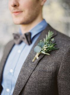 eucalyptus and herb boutonniere, photo by Paula O'Hara, styling by Alise Taggart http://ruffledblog.com/irish-destination-wedding-inspiration #grooms #boutonnieres