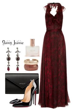 """Untitled #1805"" by skinny-jeannie ❤ liked on Polyvore featuring Yves Saint Laurent, Balenciaga, Christian Louboutin, Taara, Rosantica and Aéropostale"