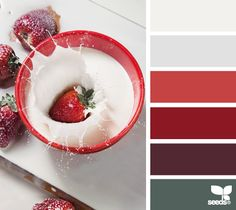 A gorgeous red-based palette for a high Security value: grounding & tasteful. Perfect for a Security value who also has Love, Community, Intimacy, or Depth. | strawberry splash via Design-Seeds | commentary via The Voice Bureau at AbbyKerr.com