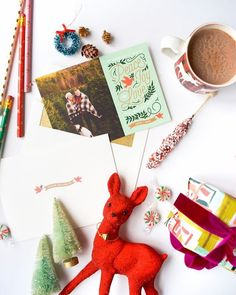 """Colorful Holiday Photo Cards. Customize the fun with """"Doves"""" by Genna Cowsert."""