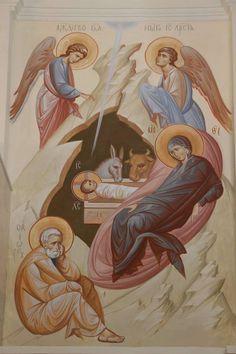 Nativity by Anton & Ekaterina Daineko Religious Images, Religious Icons, Religious Art, Byzantine Icons, Byzantine Art, Jesus Pictures, Art Pictures, Church Icon, Paint Icon