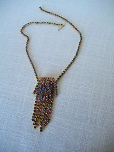 CASCADING RHINESTONE NECKLACE Green, Purple, Blue, Red Gold Tone Collectible Vintage Costume Jewelry on Etsy $34.99 by pegi16