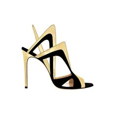 Alejandro Ingelmo Collider Gold and Black Heels Sandals ($1,295) found on Polyvore