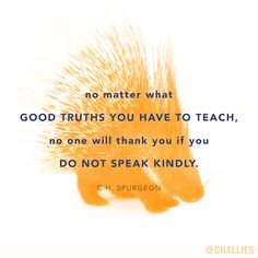 """No matter what good truths you have to teach, no one will thank you if you do not speak kindly."" (C.H. Spurgeon)"