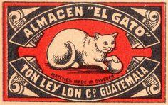Almagen El Gato matchbox label | Ton Ley Lon Co. Guatemala