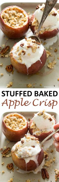 Stuffed Baked Apple Crisp loaded with a crunchy oat filling and topped with ice cream. Ready in less than 30 minutes!   chefsavvy.com #recipe #stuffed #apple #crisp #fall #dessert