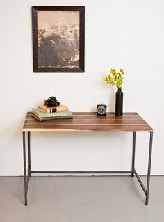 Desk  Solid Walnut and Steel Frame w/Oil and Wax by dylangrey, $860.00