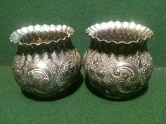 Rare Pair of Charles Packer & Co London Antique Pewter Vases - Marked 2493 2 etc