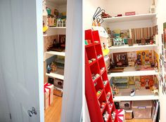 Secret dollhouse in the cupboard!  thats pretty cool! my daughter WILL have the best dollhouse on the block.