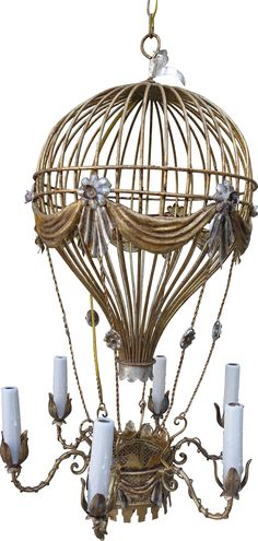 """Six-light Italian gold and silver metal balloon chandelier with drip wax candle covers. Newly rewired and in working condition with standard candelabra bulbs. 56""""L of chain and canopy included."""