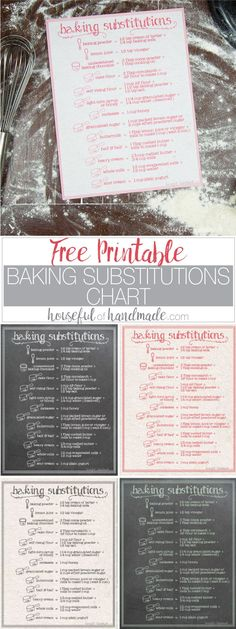 Printable Baking Substitutions Chart I need this for my kitchen! If you love to bake, but hate running to store for last minute ingredients, this free printable baking substitutions chart is perfect for you. There are a variety of ingredient substitutions Classic Kitchen, Recipe Binders, Birthday Desserts, Recipe Organization, Printable Organization, Personal Planners, Healthy Eating Tips, Baking Tips, Snacks