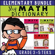 My Math Dictionary Elementary Bundle (Grades 3 - This resource includes materials needed for students to create their own math dictionary. Teaching 5th Grade, Fifth Grade Math, Math Resources, Math Activities, Classroom Resources, Love Teacher, Teacher Tools, Math Vocabulary, Secondary Teacher