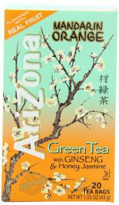 AriZona Mandarin Orange Green Tea with Ginseng & Honey Jasmine, 20 Count Tea Bags, 1.55-Ounce Boxes (Pack of 6) - http://teacoffeestore.com/arizona-mandarin-orange-green-tea-with-ginseng-honey-jasmine-20-count-tea-bags-1-55-ounce-boxes-pack-of-6/