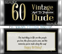 Vintage Dude 60th Birthday Party Favors by carouselcandyshoppe
