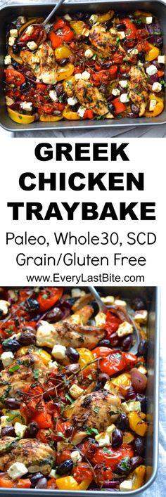 Greek Chicken Traybake (Whole30 - Keto - Paleo) | Every Last Bite Whole 30 Recipes, Greek Recipes, Paleo Recipes, Low Carb Recipes, Cooking Recipes, Pan Cooking, Cooking Time, Healthy Grains, Greek Chicken