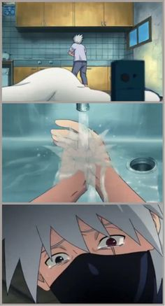 """It won't wash off!"" WHY DO THEY DO THIS TO ME? My poor Kakashi fangirl heart is broken. ;--; FEELS"