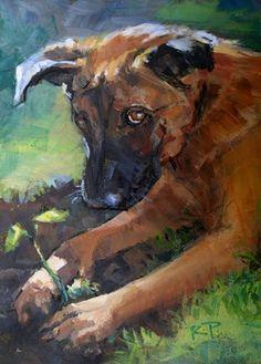 "Daily Paintworks - ""Garden Help"" - Original Fine Art for Sale - © Robin Peterson"