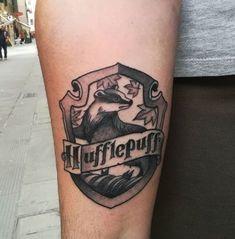 35 Enchanting Harry Potter Tattoos ---- @virgiciska on Instagram. --- Harry Potter arm tattoo. Hufflepuff tattoo.