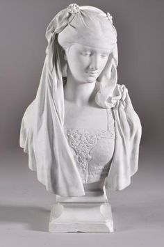 Bust of a young Lady, Bisque ~ Albert-Ernest Carrier de Belleuse ~ - Joan Of Arc Statue, Statues, Manufacture De Sevres, Antique Mantel, Ernest, Renaissance Fashion, Clay Art, Great Artists, Young Women