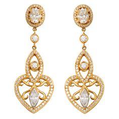 MICHAEL BEAUDRY Diamond Gold Earrings.