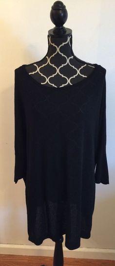 Lane Bryant Plus Sized 22/24 Black w/ Silver Metallic Lightweight Dressy Shirt #LaneBryant #Blouse
