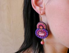Bead embroidered Earrings Cats eye cabochons by MisPearlBerry, $42.00