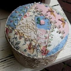 """""""crazy quilt"""" pin cushion made for my mother."""