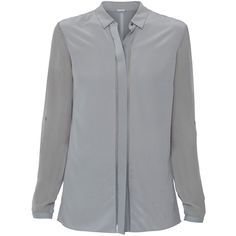 Elie Tahari Ava Grey Silk Blouse ($248) ❤ liked on Polyvore featuring tops, blouses, grey, sheer top, button blouse, transparent blouse, long sleeve silk blouse and gray silk blouse