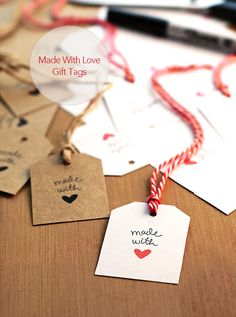FREE Made With Love Gift Tags available for instant download #valentines - I think I could make my own of these!