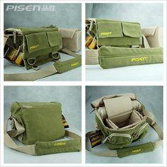 Cosmos ® Khaki Green Shoulder Canvas Outdoor Camera Bag 33