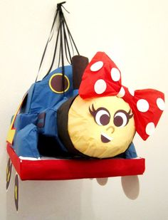 Girly Train Engine Pinata Blue Red Bow by PinataMama on Etsy, $65.00