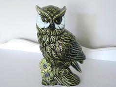 Vintage Planter   Mod Green Owl  1960's  Retro Owl by NehiandZotz, $25.00