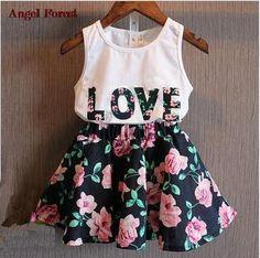 Children's clothing 2016 new summer girls letter love flower vest short skirt set kids clothes suit