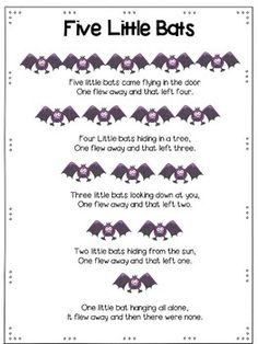 Five Furry Bats: A Math and Literacy Pack for Preschool and Kindergarten Preschool Music, Fall Preschool, Preschool Curriculum, Preschool Themes, Preschool Kindergarten, Homeschooling, Halloween Activities, Halloween Songs For Preschoolers, Halloween Songs Preschool
