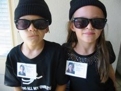 I like the idea of having all the kiddoes wear black hats and glasses.