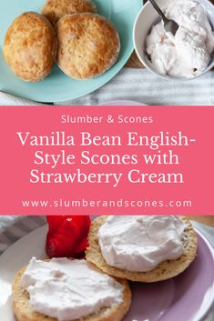 A variation on a classic, these Vanilla Bean English-Style Scones are perfect for breakfast, brunch, or tea time. Serve them with the light and fluffy Strawberry Cream. #scones #sconerecipe #strawberry