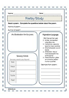 Poetry Unit- 12 poems for students to read and write; plus a fun poetry study graphic organizer