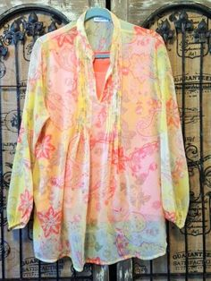 Susan Graver Crinkled Sheer Chiffon Printed Tunic with Knit Tank Large  #SusanGraver #TankCamiPeasantBlouse #Any